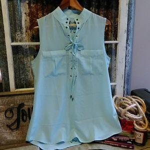 Simply Noelle Sheer Sleeveless Blouse Size 12-14